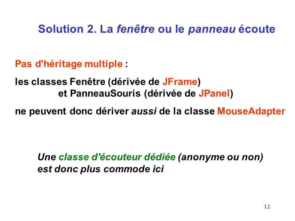 Solution 2. La fenêtre ou le panneau écoute