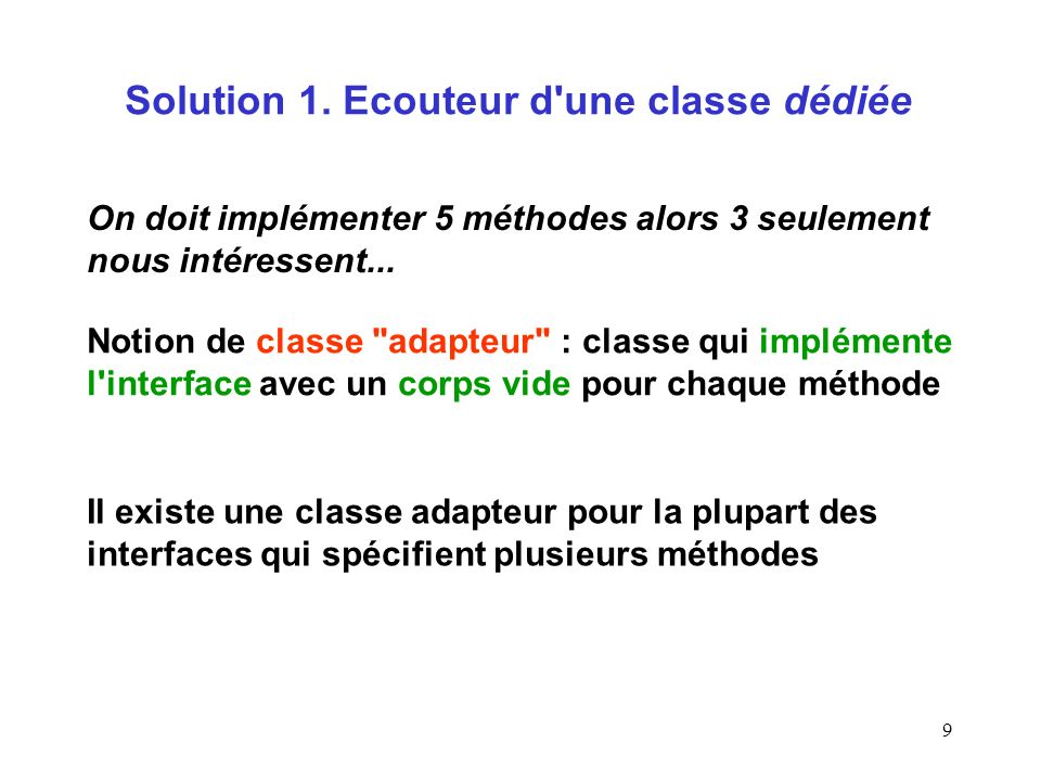 Solution 1. Ecouteur d une classe dédiée