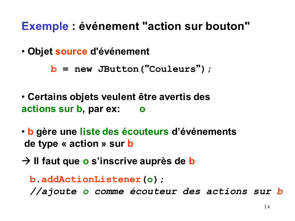 Exemple : événement action sur bouton