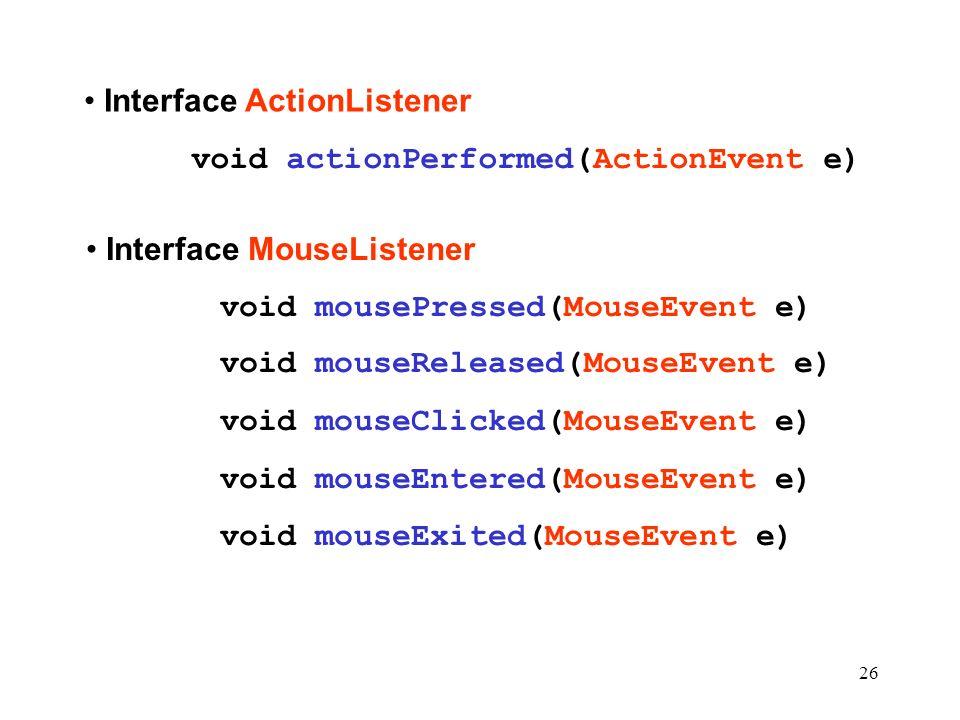 Interface ActionListener