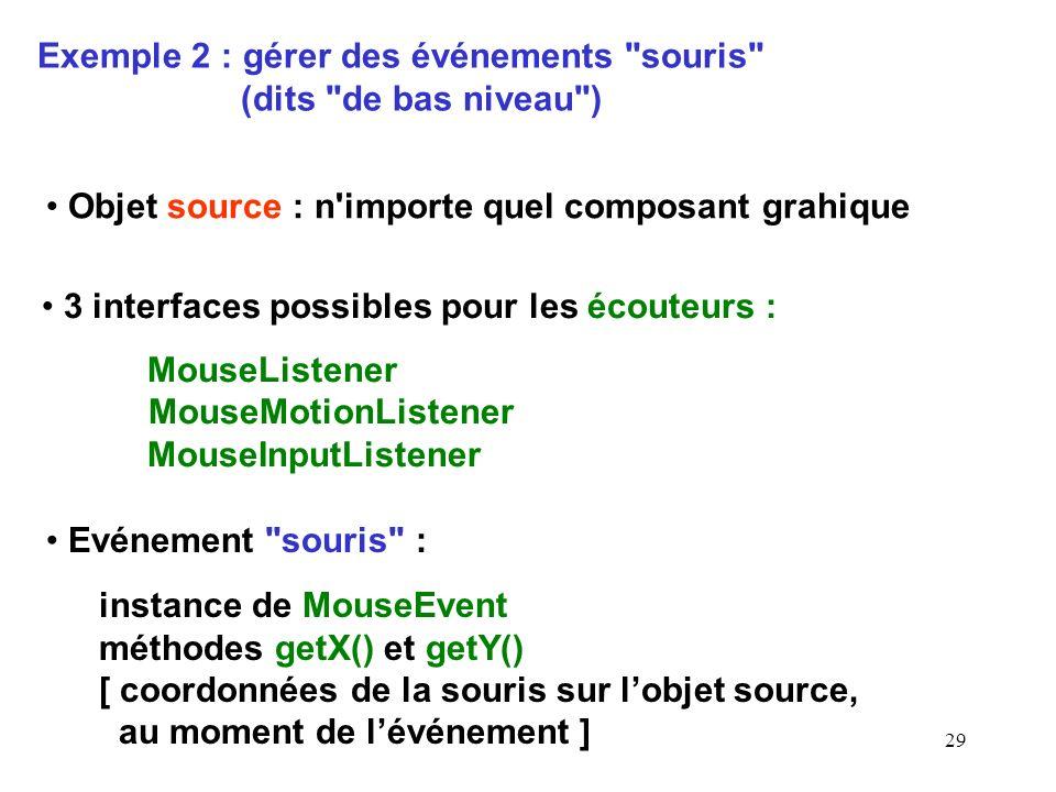 Exemple 2 : gérer des événements souris (dits de bas niveau )