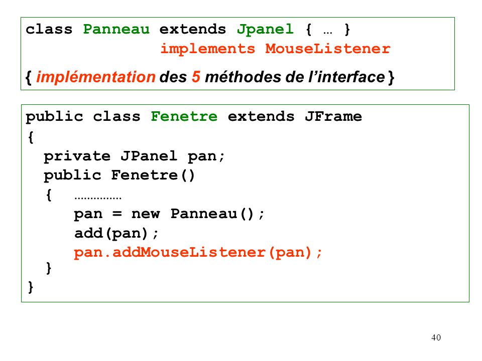 class Panneau extends Jpanel { … } implements MouseListener