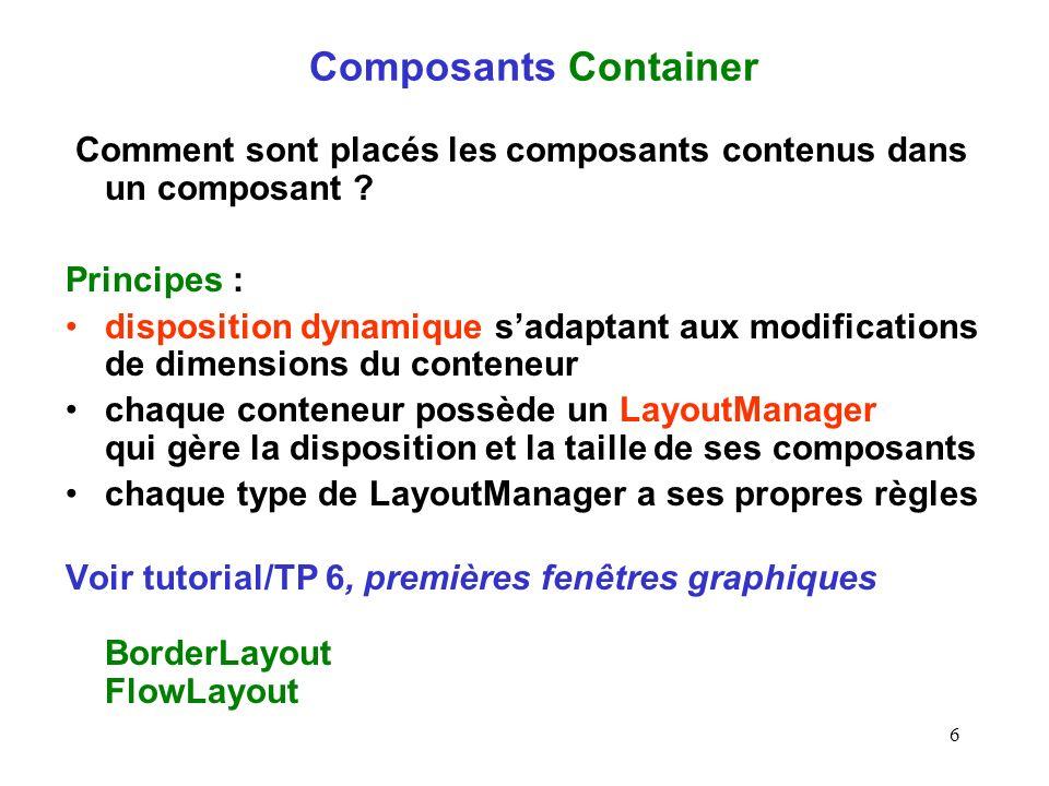 Composants Container Comment sont placés les composants contenus dans un composant Principes :