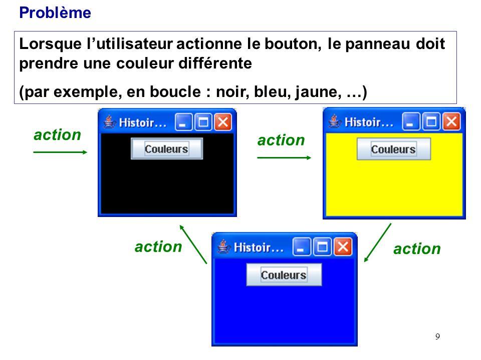 Problème Lorsque l'utilisateur actionne le bouton, le panneau doit prendre une couleur différente. (par exemple, en boucle : noir, bleu, jaune, …)