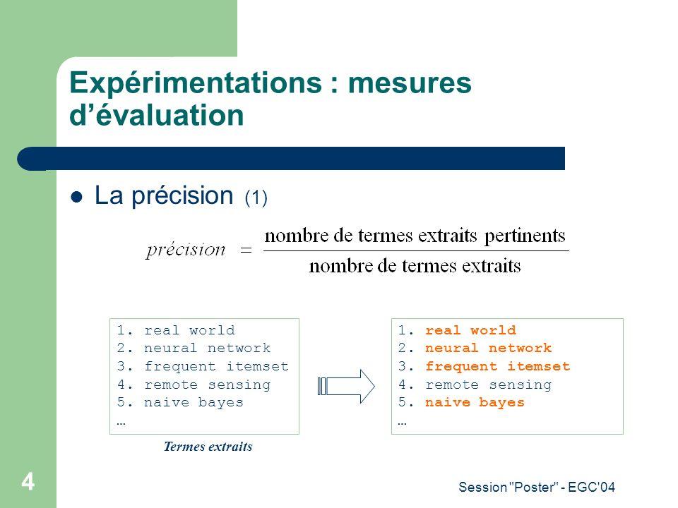 Expérimentations : mesures d'évaluation