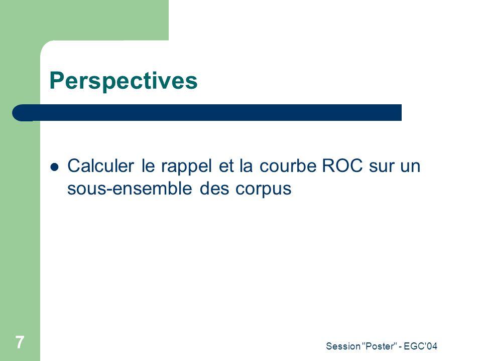 Perspectives Calculer le rappel et la courbe ROC sur un sous-ensemble des corpus.