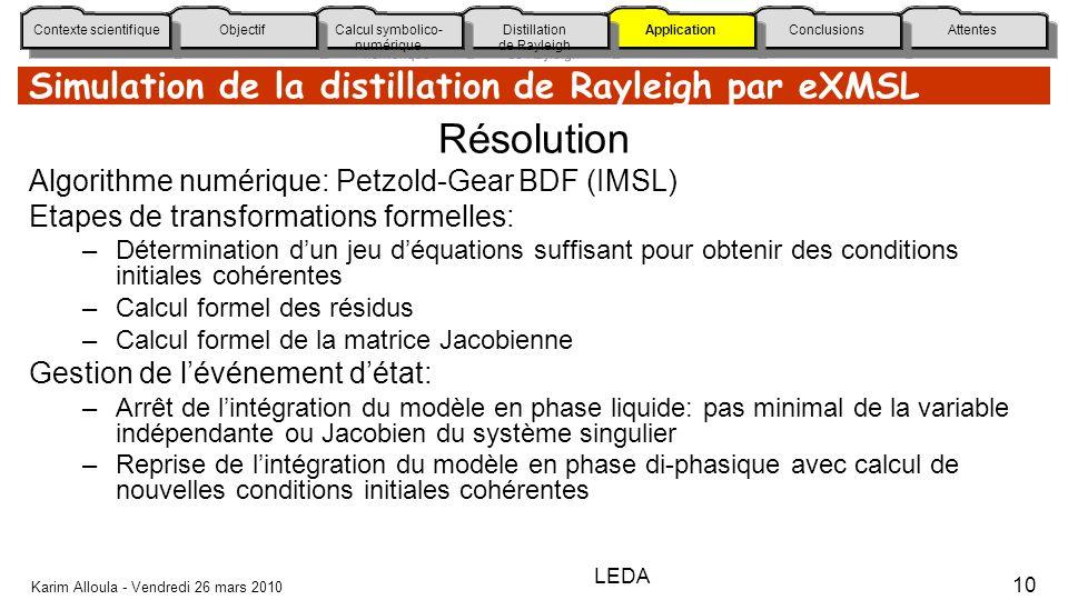 Simulation de la distillation de Rayleigh par eXMSL