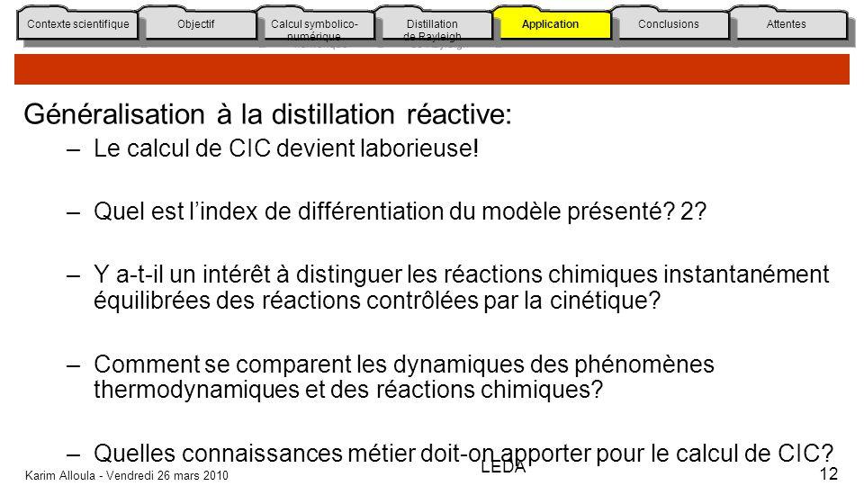 Généralisation à la distillation réactive: