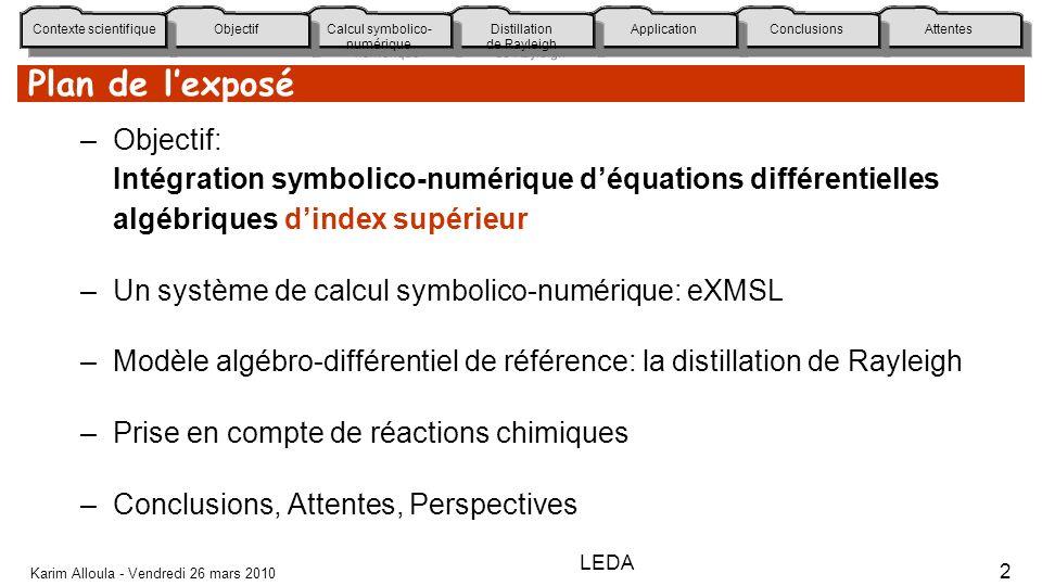 Plan de l'exposé Objectif: Intégration symbolico-numérique d'équations différentielles algébriques d'index supérieur.