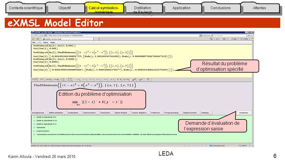 eXMSL Model Editor LEDA Résultat du problème d'optimisation spécifié