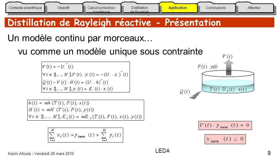 Distillation de Rayleigh réactive - Présentation