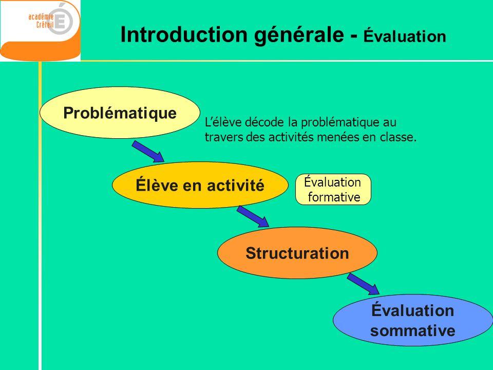 Introduction générale - Évaluation
