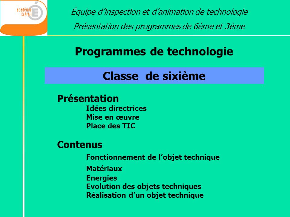 Programmes de technologie