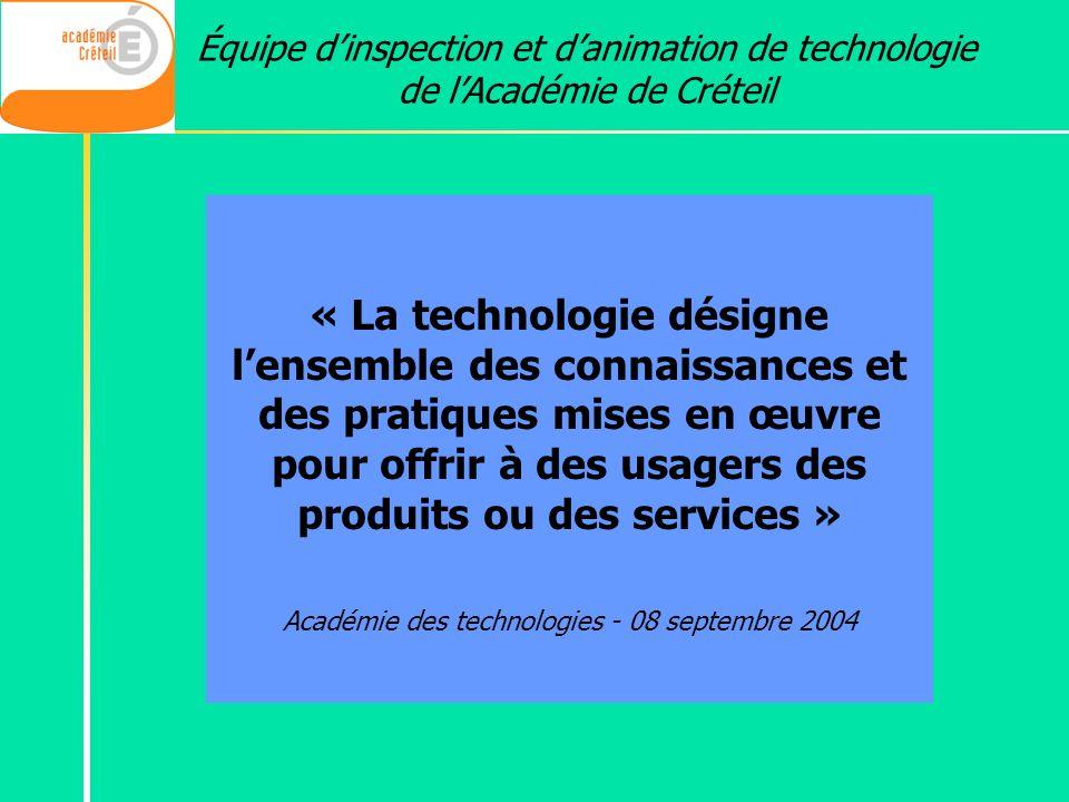 Académie des technologies - 08 septembre 2004