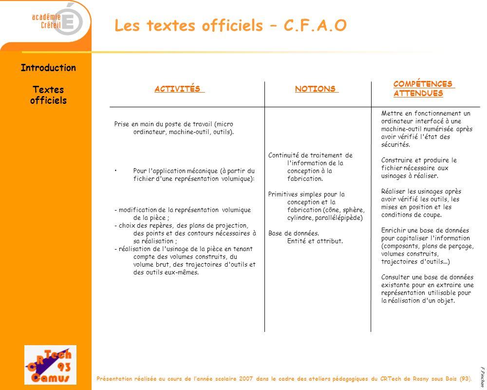 Les textes officiels – C.F.A.O