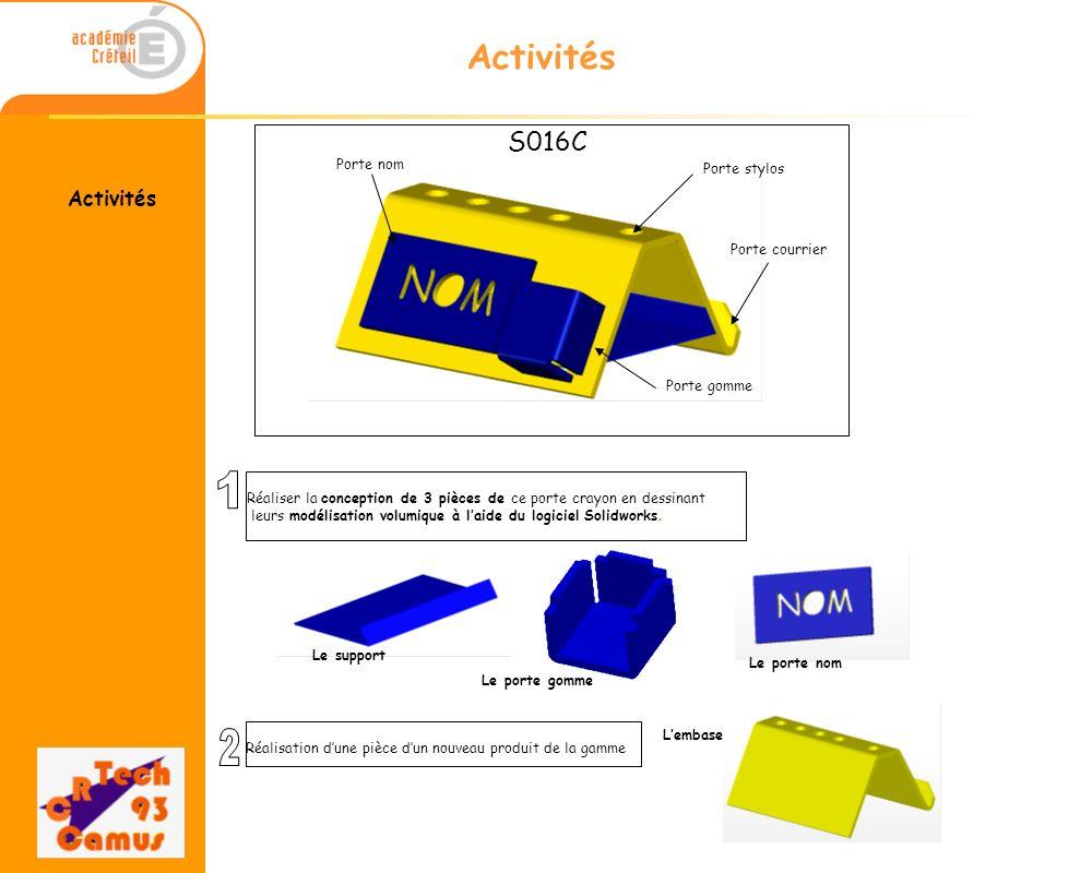 1 2 Activités S016C Activités Porte nom Porte stylos Porte courrier