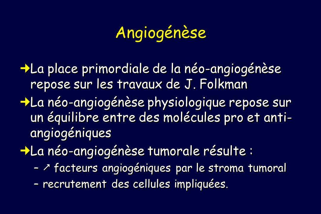 Angiogénèse La place primordiale de la néo-angiogénèse repose sur les travaux de J. Folkman.