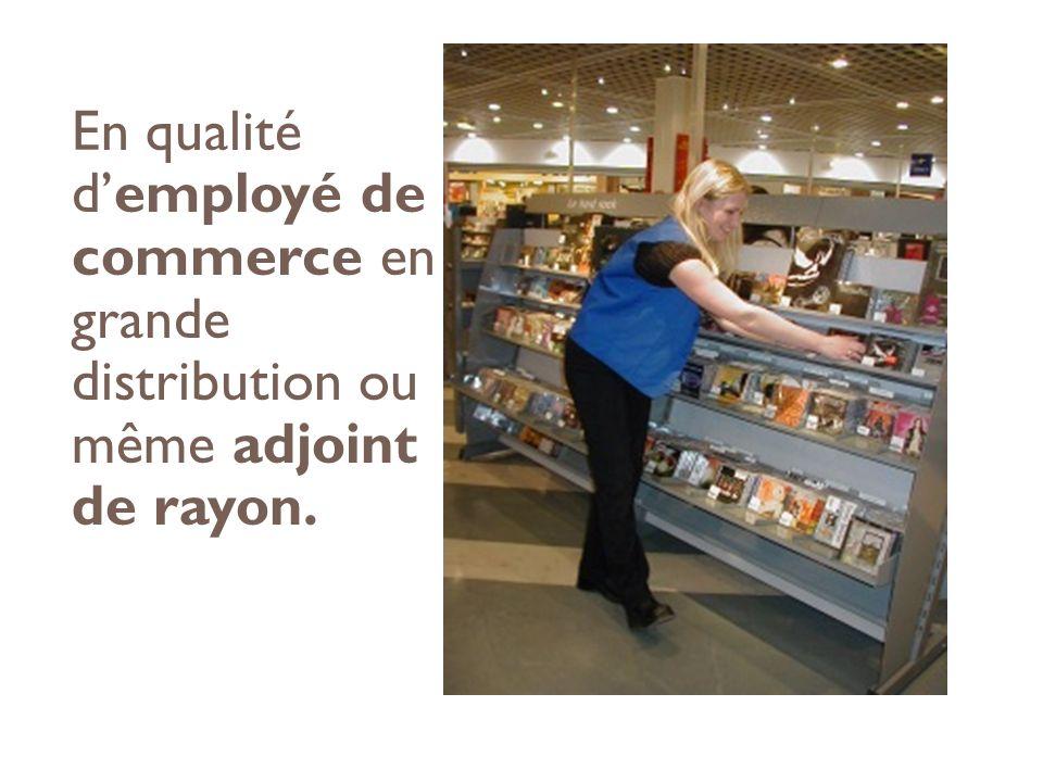 En qualité d'employé de commerce en grande distribution ou même adjoint de rayon.