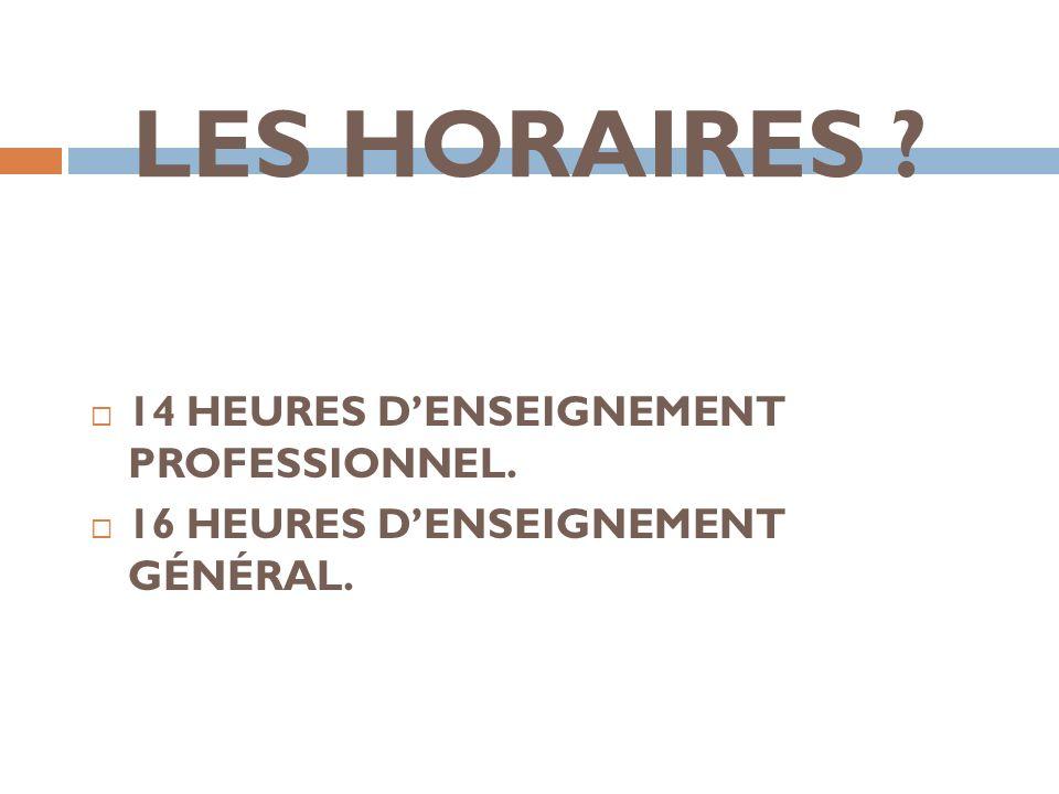 LES HORAIRES 14 HEURES D'ENSEIGNEMENT PROFESSIONNEL.