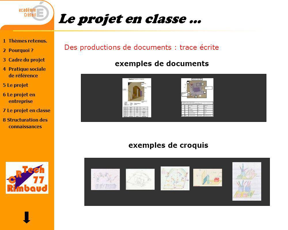 Le projet en classe ... Des productions de documents : trace écrite