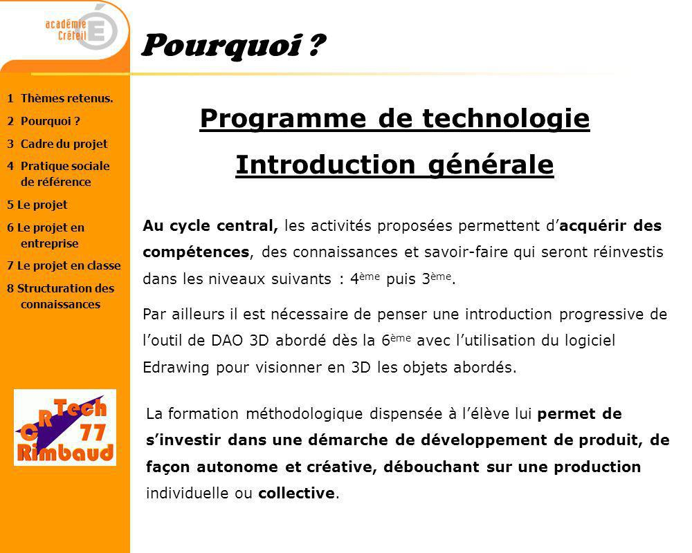 Programme de technologie Introduction générale