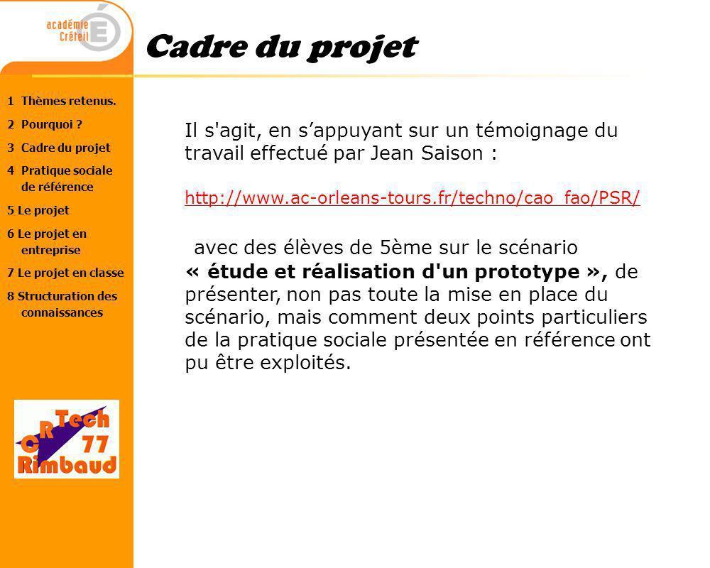 Cadre du projet Il s agit, en s'appuyant sur un témoignage du travail effectué par Jean Saison : http://www.ac-orleans-tours.fr/techno/cao_fao/PSR/