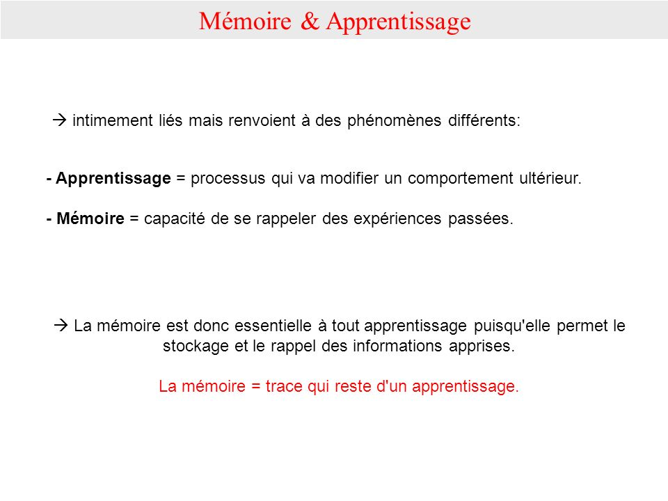 Mémoire & Apprentissage