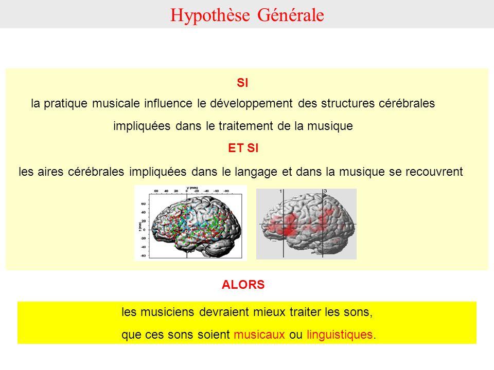Hypothèse Générale SI. la pratique musicale influence le développement des structures cérébrales. impliquées dans le traitement de la musique.