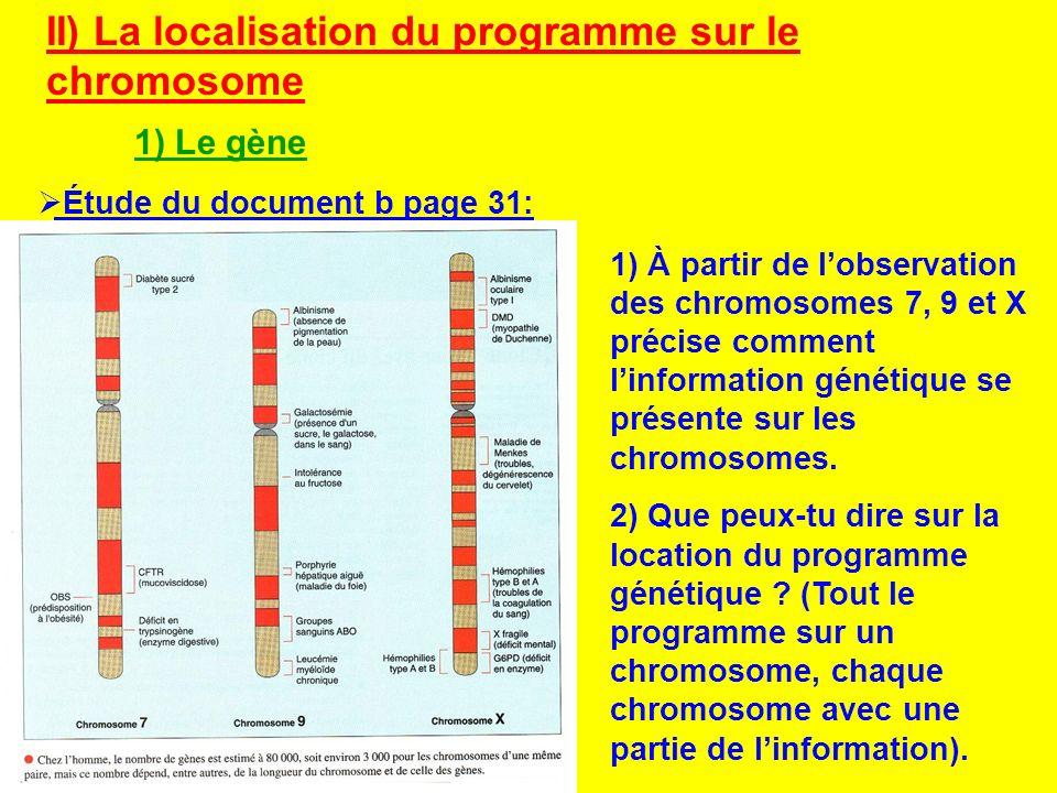 II) La localisation du programme sur le chromosome