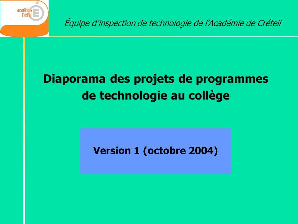 Diaporama des projets de programmes de technologie au collège