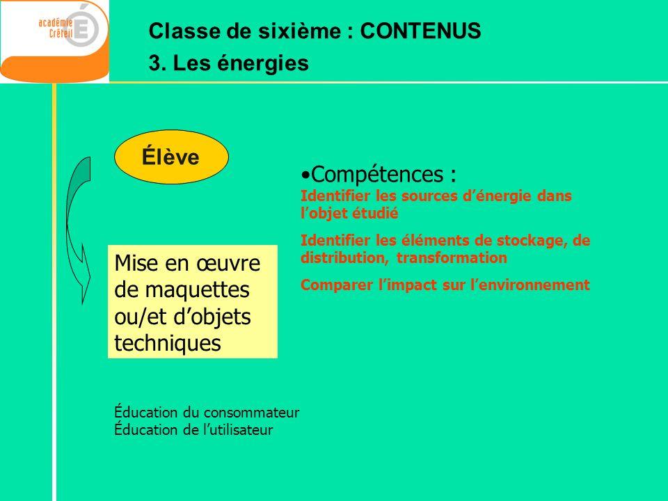 Classe de sixième : CONTENUS 3. Les énergies