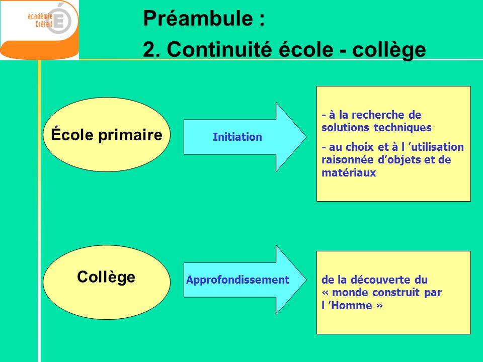 2. Continuité école - collège