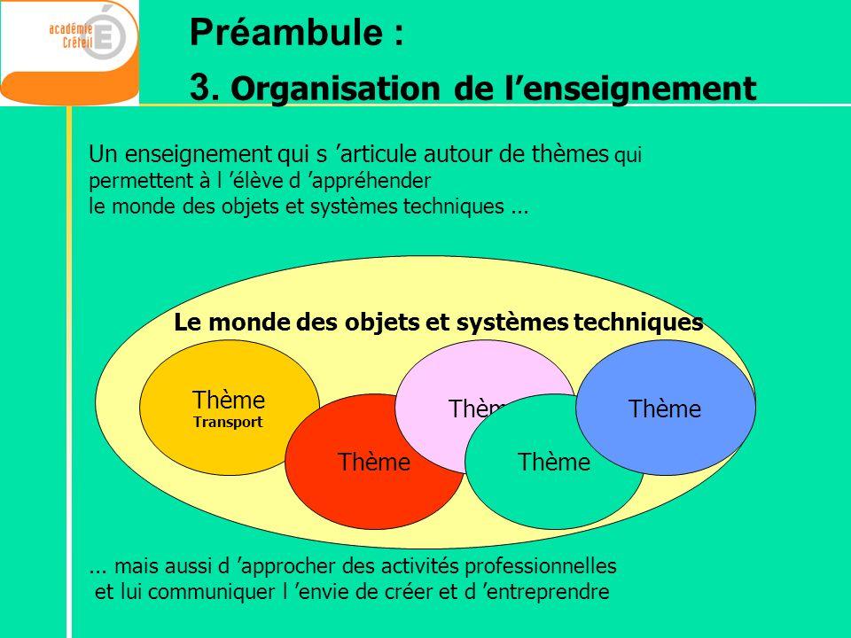 3. Organisation de l'enseignement