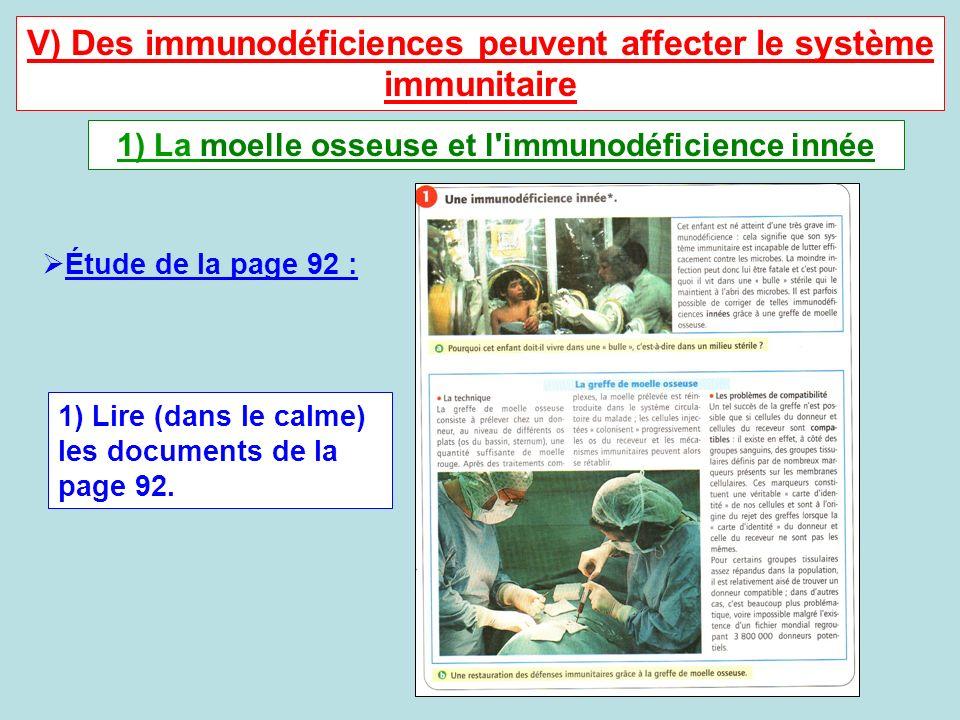 V) Des immunodéficiences peuvent affecter le système immunitaire