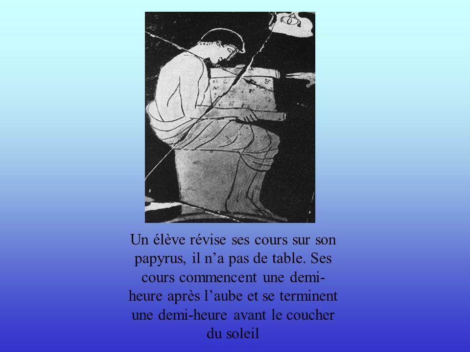 Un élève révise ses cours sur son papyrus, il n'a pas de table