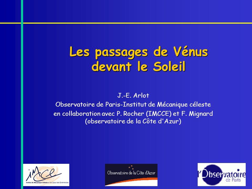 Les passages de Vénus devant le Soleil