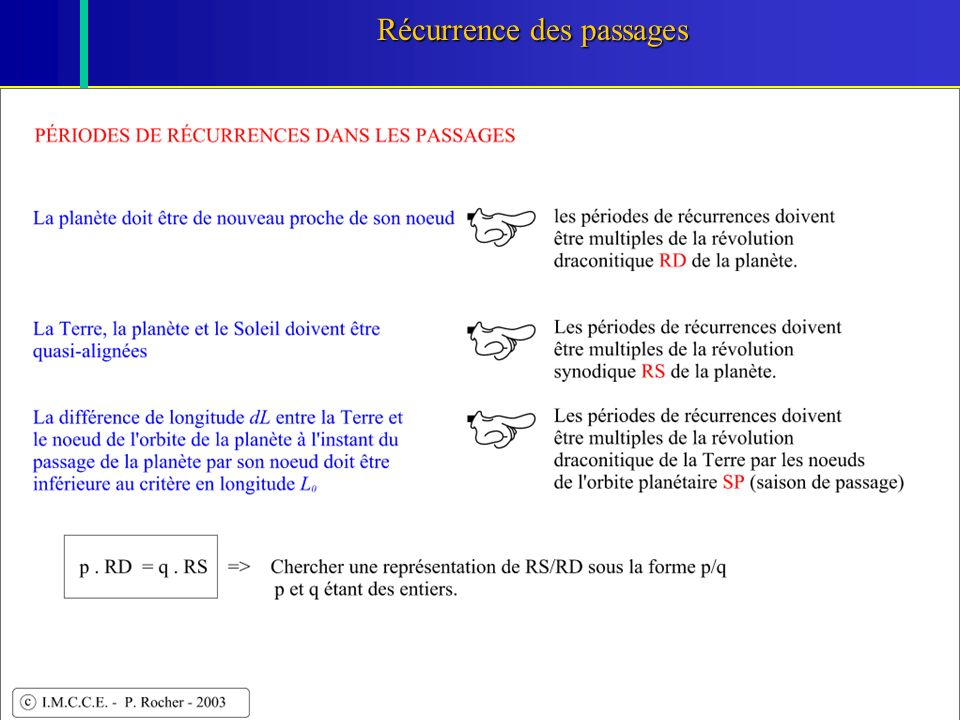 Récurrence des passages