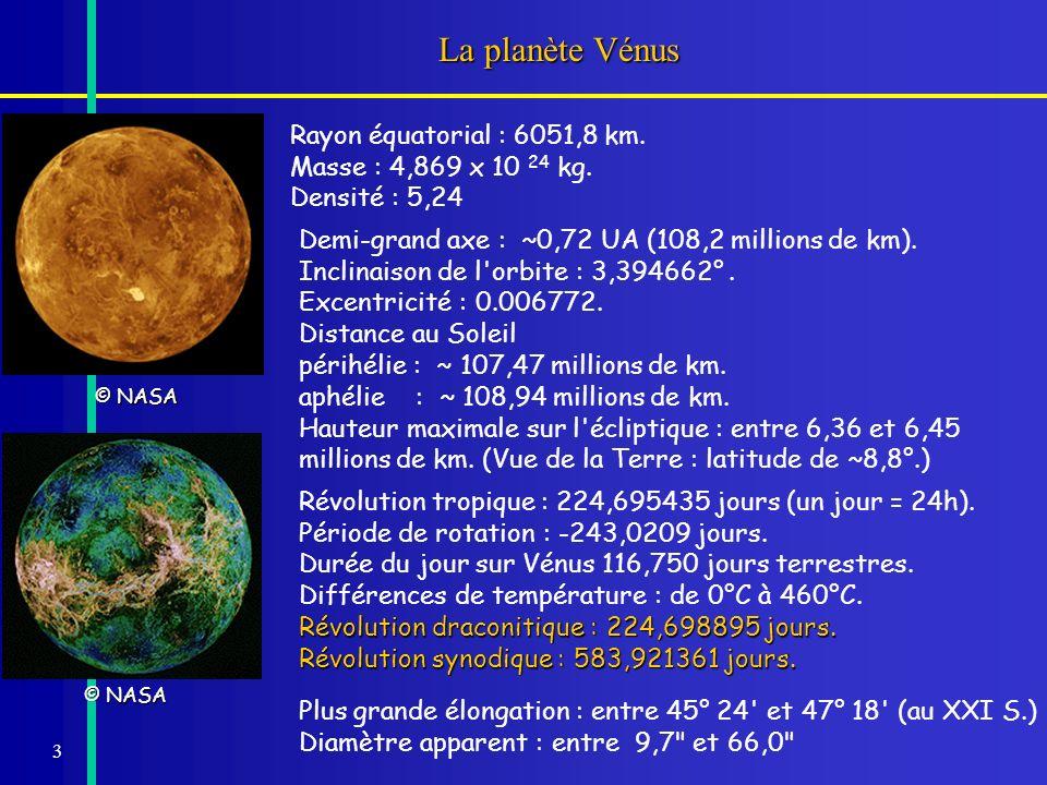 La planète Vénus © NASA. Rayon équatorial : 6051,8 km. Masse : 4,869 x 10 24 kg. Densité : 5,24. Demi-grand axe : ~0,72 UA (108,2 millions de km).