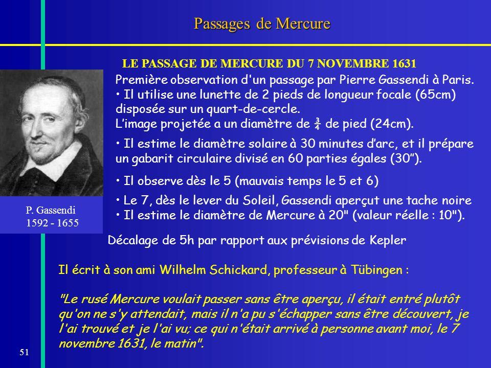 LE PASSAGE DE MERCURE DU 7 NOVEMBRE 1631