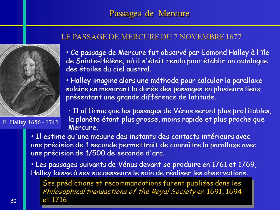 Passages de Mercure LE PASSAGE DE MERCURE DU 7 NOVEMBRE 1677