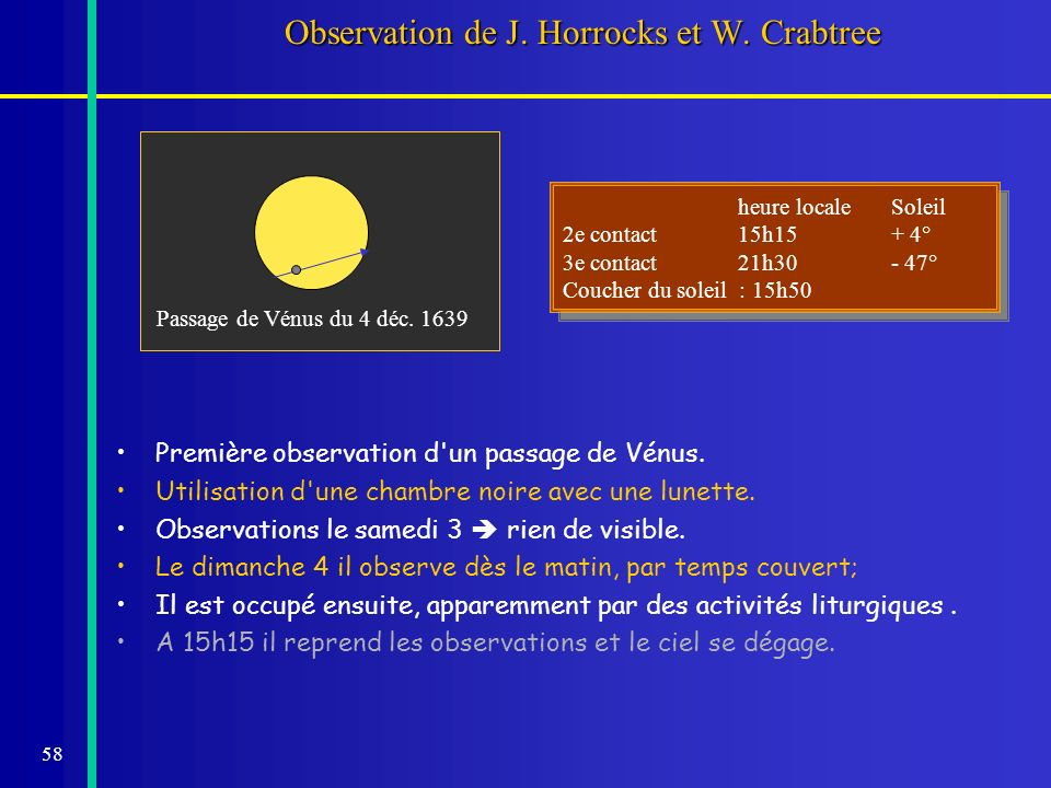 Observation de J. Horrocks et W. Crabtree