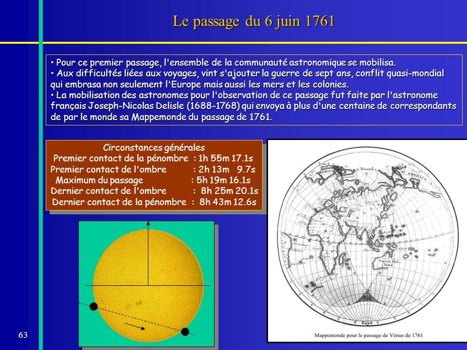 Le passage du 6 juin 1761Pour ce premier passage, l ensemble de la communauté astronomique se mobilisa.
