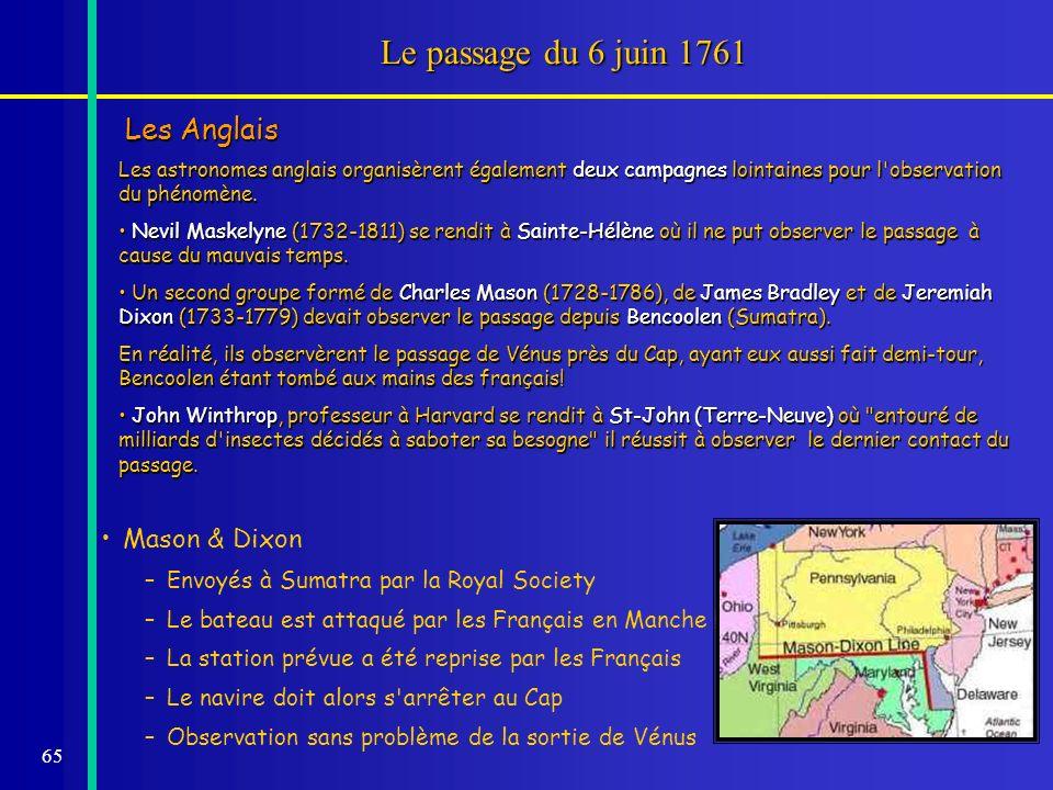 Le passage du 6 juin 1761 Les Anglais Mason & Dixon