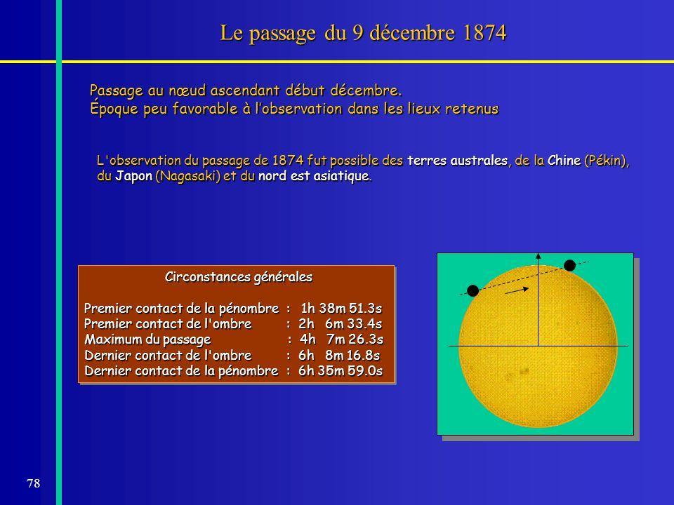 Le passage du 9 décembre 1874Passage au nœud ascendant début décembre. Époque peu favorable à l'observation dans les lieux retenus.
