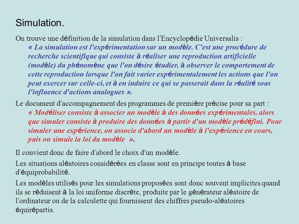 Simulation. On trouve une définition de la simulation dans l'Encyclopédie Universalis :