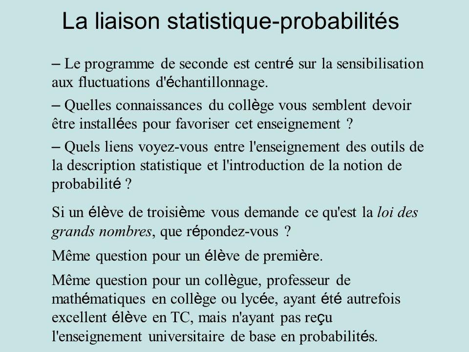 La liaison statistique-probabilités