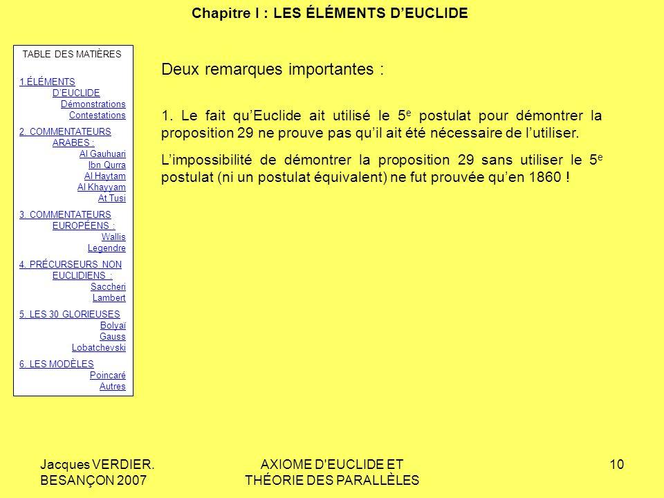Chapitre I : LES ÉLÉMENTS D'EUCLIDE