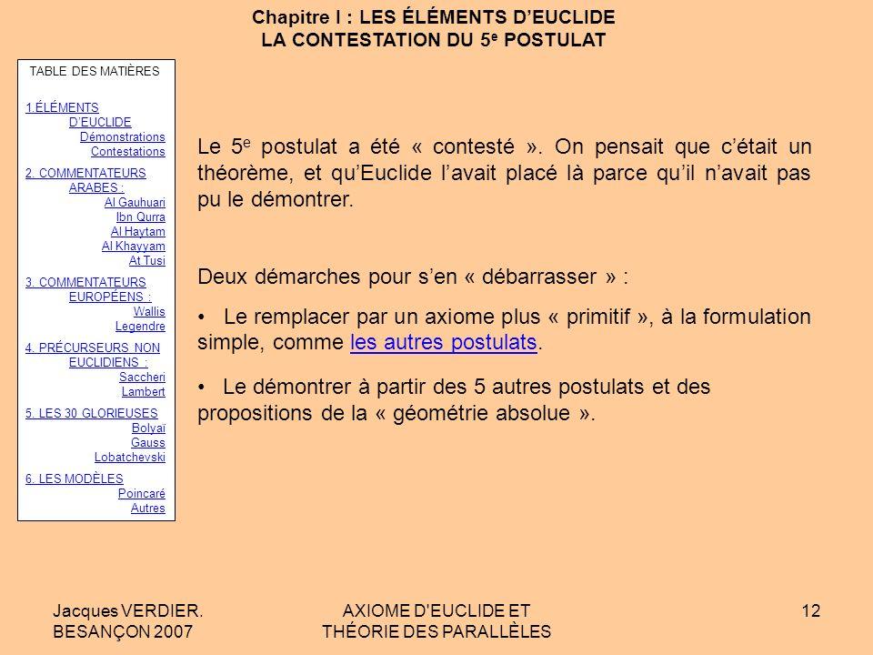Chapitre I : LES ÉLÉMENTS D'EUCLIDE LA CONTESTATION DU 5e POSTULAT