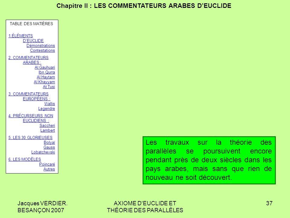 Chapitre II : LES COMMENTATEURS ARABES D'EUCLIDE