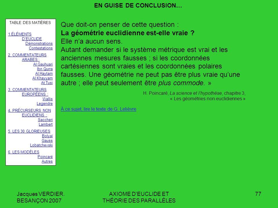 EN GUISE DE CONCLUSION…